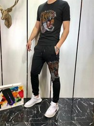 $enCountryForm.capitalKeyWord NZ - Trousers New Pattern Man Tracksuit 74t Lapel And Short Sleeve Motion 2019 Korean Edition Embroidery Leisure Sports Suit