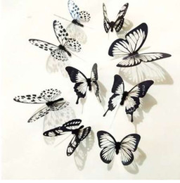 Small Butterfly Art Australia - 18Pcs Black and White 3D Butterfly Wall Stickers Art Wall Decals for Home Decoration