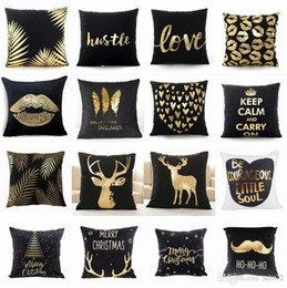 $enCountryForm.capitalKeyWord Australia - Christmas Lip Golden Sofa Pillow Case Black Super Soft Velvet Bronzing Pillow Cushion Household Hotel Decoration Supplie Pillow Cover 6xc A1