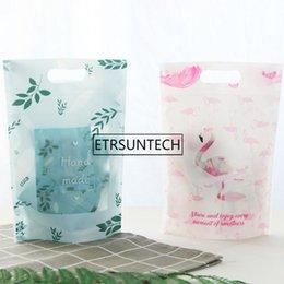 il commercio all'ingrosso 1000pcs Flamingo piccolo sacchetto di imballaggio alimentare auto-sigillato fresco fatto a mano biscotti sacchetto di plastica con chiusura a cerniera con manico