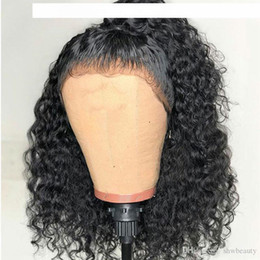 black human hair full lace wigs Australia - D Brazilian Curly Full Lace Human Hair Wigs For Black Women Bob Lacefront Brazilian Curly Short Hair Wig Glueless Pre Plucked Bleached