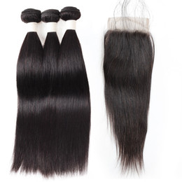 $enCountryForm.capitalKeyWord Australia - 9A Loose Wave Deep Wave Straight Water Wave Human Hair Bundles with Closure 3Bundles with Lace Closure 8-28 inch Remy Human Hair Extensions