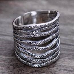 $enCountryForm.capitalKeyWord Australia - Fashion Rhodium Plated 925 Sterling Silver Eight Rows Open Women Band Ring Irregular Pattern Retro Jewelry