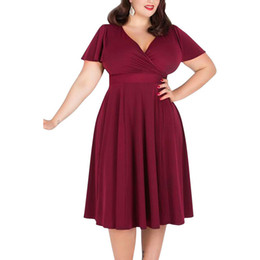 $enCountryForm.capitalKeyWord Canada - Plus size Casual Dresses Women Clothing Dresses Women's large swing skirt large size Loose solid color V-neck short-sleeved dress 265