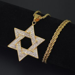 wholesale hip hop jewelry pendants Australia - Wholesale-2 sizes Stainless Steel Gold Star Pendant Necklace Hip Hop Jewelry SN147