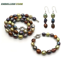 $enCountryForm.capitalKeyWord Australia - selling well Amazing necklace earring bracelet set small baroque pearls simple freshwater pearl Peacock blue brown coffee yellow