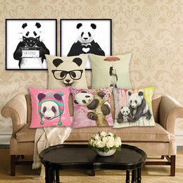 Green Office Chairs Australia - 45cm Panda Animal Pattern Cotton Linen Fabric Throw Pillow 18inch Fashion Hotal Office Bedroom Decorate Sofa Chair Cushion