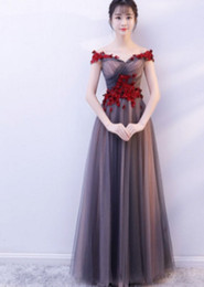 $enCountryForm.capitalKeyWord UK - Evening dress 2019 new style winter banquet noble and elegant one word shoulder long fairy temperament show thin socialite evening dress