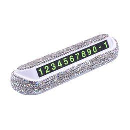 rhinestone phone stickers Australia - Universial Diamond Crystal Hideable Temporary Car Parking Card Phone Number Card Plate Telephone Number Rhinestones Car Stickers