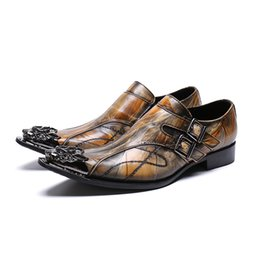 Mens Printed Lower Australia - Classic Genuine Leather Metal Tip Slippers Flats Banquet Wedding Mens Dress Shoes Rivets Patent Leather Print Shoe