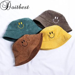 wholesale corduroy hats Australia - Doitbest 2-8 Years old Autumn Child Bucket fishing Hats Childen embroidery smile corduroy Boys Girls Winter fisherman hat
