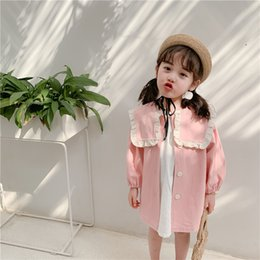 Wholesale pink spring trench for sale - Group buy Girls trench coat spring new kids letter embroidery falbala lapel trench coat preppy style children pink long outwear A1748