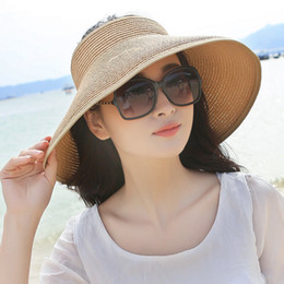 $enCountryForm.capitalKeyWord Australia - Spring Summer Visors Cap Foldable Wide Large Brim Sun Beach Hats For Women Straw Hat Wholesale Chapeau C19041001