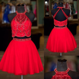 Lilac Homecoming Dresses Australia - Red Short Homecoming Dresses With Beads Crystales Halter Cheap Prom Dress Short Tulle Two Pieces Dresses Evenign Wear Sexy back