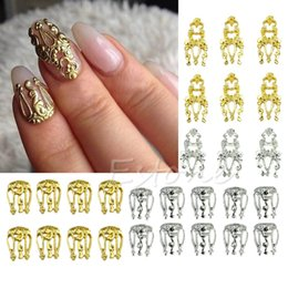 Hollow Fingers Australia - Hot Sale 10pcs 3D Hollow Nail Silver Art Alloy Gold Decoration Jewelry Glitter Rhinestone New 2017