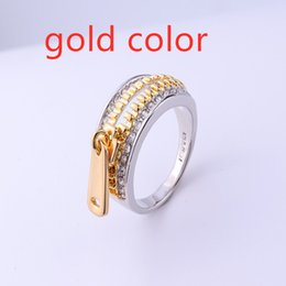 Zinc Alloy Gold Plated Ring Australia - New fashion creative gold plated zinc alloy zipper head vintage ring for women in love