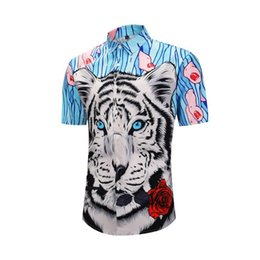 b4f3657eb Funky Hawaiian Shirt Men 2019 Summer Short Sleeve Tiger Print Facny Shirts  Male Casual Hip Hop Punk Rock Camisa Masculina Social