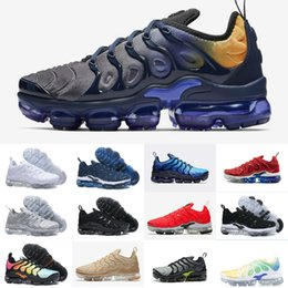 5246fb521d4 2019 New Original Tn Plus Shoes Hot Sell Volt Hyper Violet Blue Men Women Running  Shoes Maxes Triple White Black Cushion trainer air Tn Shoe
