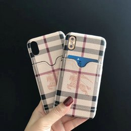 $enCountryForm.capitalKeyWord NZ - Fashion Card Case for iPhone 7plus 7 8 8plus 6 6plus Plaid and Horse Pattern Hard Case for iPhone X XR XS MAX Case