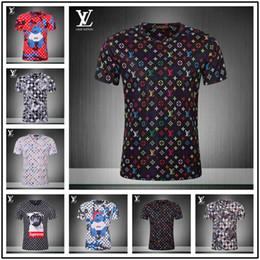 Venta al por mayor de Diseñador Camiseta para hombre Nuevo Cuello alto Camisetas de moda Estampado Triángulo Patrón Camiseta Contraste Color Algodón Confort Camisetas palacios Tamaño grande
