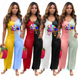 Wholesale ladies one piece pants resale online - Summer Women One Piece Bodysuit Designer Lips Printed Sleeveless Jumpsuit Ladies Patchwork Rompers Casual Sports Pants Loose Playsuit D5603