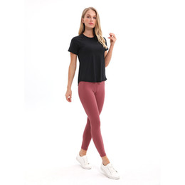 Wholesale open back shirts resale online - Women Sexy Open Back Sport Solid Yoga Shirts LU Tie Workout Short sleeve breathable Tank Tops fitness tops women sport shirt