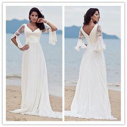 $enCountryForm.capitalKeyWord Australia - Long Wedding Dresses 2019 V Neck Zipper Back robes de soirée 3 4 Long Sleeves Lace Bridal Gowns Plus Size