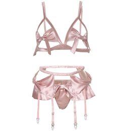 54409f8ca777 Pink Hollowed Sexy Ultra Thin Cup Bow Tie Seductive Lingerie Bra Panty  Underwear Garter Belt Set Women Bra Thong Set