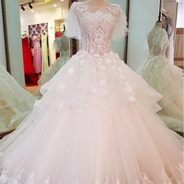 Corset China Custom made online shopping - Puffy Short Sleeve Wedding Dress Lace Ball Gown Corset Back Wedding Gown Newest China Online Wholesaler Discount Real Price Bridal Gown