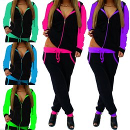 $enCountryForm.capitalKeyWord NZ - zipper sports wear for women gym long sleeve solid hoodies yoga sets 2 pcs gym clothing 2019 work out yoga pants Drawstring