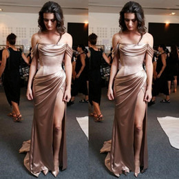 Wholesale silky dresses for sale – plus size 2019 New Sexy Sheath Evening Dresses Silky Off the Shoulder High Thigh Split Formal Evening Celebrity Prom Party Gowns Custom Made
