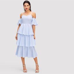 Blue Sweetheart Neckline Tiered Layered Ruffle Hem High Waist Dress Autumn  Women Half Sleeve Solid Arabian Dresses 9448bf64964b
