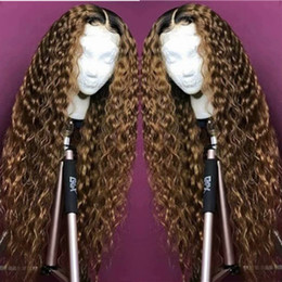long dark wavy hair NZ - 100% Unprocessed Remy Virgin Human Hair Deep Wavy Long Length #1bT27 Ombre Blonde Full Lace Silk Top Wig for Black Women