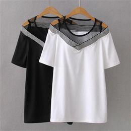 $enCountryForm.capitalKeyWord NZ - Plus Size Patchwork Off The Shoulder Women T Shirt 2019 White & Black T-shirt Women Short Sleeve Tops Tshirt Summer Tee Shirt Y19072001