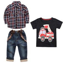 boys suspenders plaid 2019 - 3PCS Children Boys Shirt Plaid vetement enfant garcon Overshirt+T-Shirt+Suspender Jeans Pants Set Long sleeve kids cloth