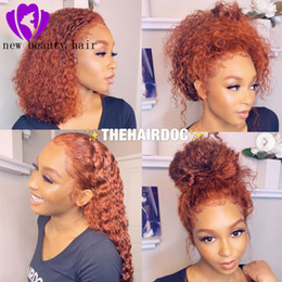 Dark orange wigs online shopping - New women style orange color Brazilian loose curly Wig PrePlucked short Lace Front bob Wigs synthetic hair heat resistant With Baby Hair