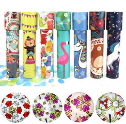 Discount kaleidoscopes for children Rotating Colorful Kaleidoscope Toy Lens Imaginative Cartoon Children Magic Classic Educational Toys for kids free shippi