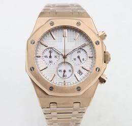 $enCountryForm.capitalKeyWord NZ - Hot sale watch men 42mm Quartz chronograph work model Rose gold white face watch clock mens watches free shipping 111
