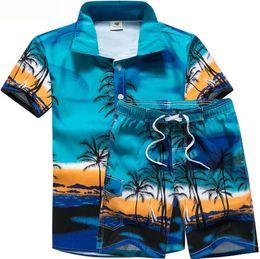 Discount shirt man short button - Mens 2pcs Designer Suits Coconut Palm Printed Beach POLO Shirts Short Pant Suits Stage Costumes Clothes
