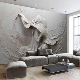 Mural painting wallpaper oil online shopping - Custom Wallpaper D Stereoscopic Embossed Gray Beauty Oil Painting Modern Abstract Art Wall Mural Living Room Bedroom Wallpaper