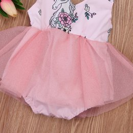fancy crystal buttons NZ - 2018 Newborn Toddler Baby Girls Sleeveless Unicorn Lace Tulle Fancy Skirt Patchwork Romper Cute Summer Outfits