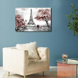 paris canvas decor Canada - High Quality 100% Handpainted Landscape Oil Painting on Canvas Paris Effiel Tower Home Wall Decor Art M806
