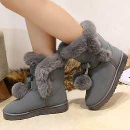 $enCountryForm.capitalKeyWord NZ - Women boots platform flat suede shoes 2018 trendy plush lace-up butterfly knot solid pink gray black winter snow boots744