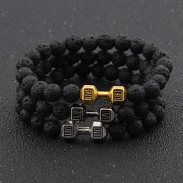 Strength Jewelry NZ - Black Artificial Lava Turquoise Stone Dumbbell Chakra Beads Bracelets Couple Lover Fashion Strand Strength Bracelet Bangle Jewelry Wholesale