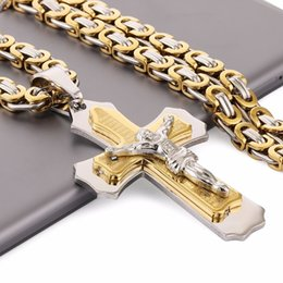 "titanium cross chain man Canada - Multilayer Cross Christ Jesus Pendant Necklace Stainless Steel Link Byzantine Chain Heavy Men Jewelry Gift 21.65"" 6mm MN78 V191031"