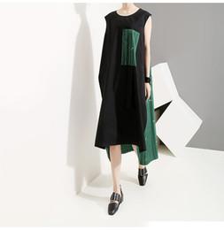 $enCountryForm.capitalKeyWord NZ - 2019 Korean Style Women Summer Sleeveless Midi Sun Dress Pocket Knee Length Lady Stylish Casual Wear Loose Dress Robe Femme 5126