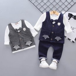 $enCountryForm.capitalKeyWord NZ - newborn outfits autumn 2019 baby suits boys clothing sets waistcoat Vest+T shirt+trousers 3pcs baby boy clothes toddler boy clothes A6595