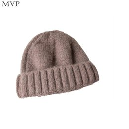 Fallen Hats Australia - Women Autumn Winter Hat Multicolor Thick Solid Soft Warm Women, Girl Knitted Cap Fashion Casual Spring, Fall,