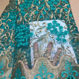$enCountryForm.capitalKeyWord Australia - 2019 New Design French Lace Fabric High Quality African Laces Fabric With Stones Wedding Dress Nigerian French Lace Fabric green