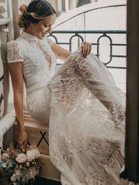 Charming Vintage Lace High Neck See Through sheath wedding dresses 2020 Retro Short Sleeve Bohemian Country Bride Wedding Dress